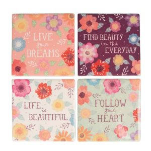 Set of 4 Watercolour Floral Coasters